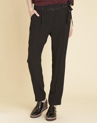 Zwarte broek van jacquard met stippen harper noir.