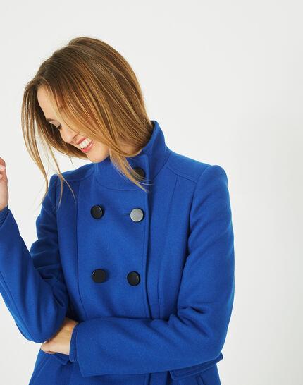 Manteau bleu en laine mélangée col montant Jasmin (1) - 1-2-3
