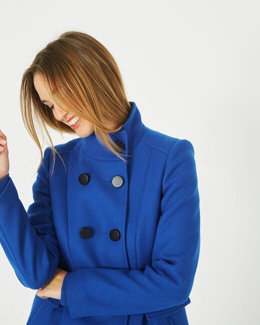 Manteau bleu en laine mélangée col montant Jasmin (2) - 1-2-3