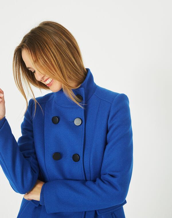 Manteau bleu en laine mélangée col montant jasmin à