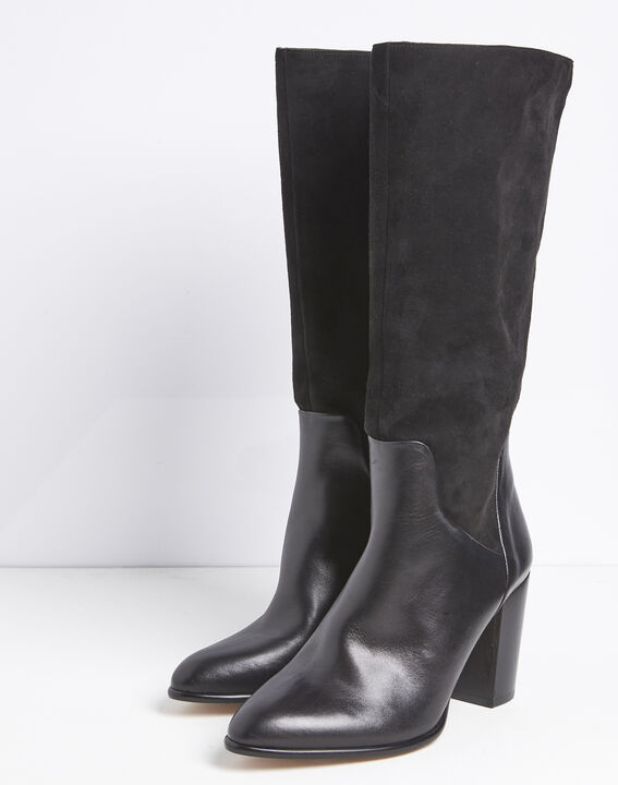 Lucie dual-material black leather heeled boots (3) - 1-2-3