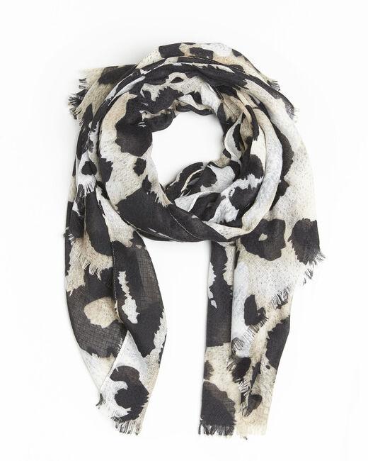 Foulard noir imprimé peau de bête Folie (2) - 1-2-3