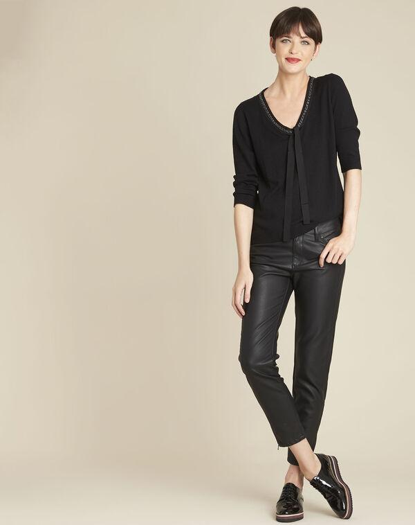 Zwarte trui met decoratieve halslijn van gemengd wol Beverly (2) - 37653