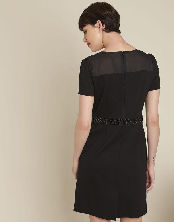 Robe noire détails strass Ness (4) - 1-2-3