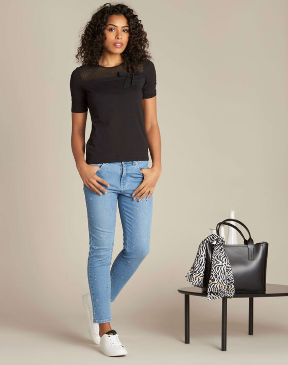 Elouise black T-shirt with bow (2) - 1-2-3