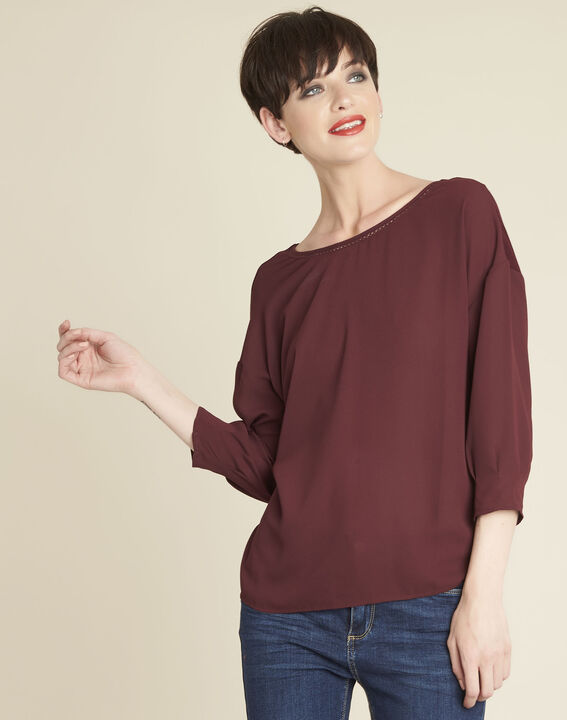 Cleo red dual-fabric blouse with frilled detailing PhotoZ | 1-2-3