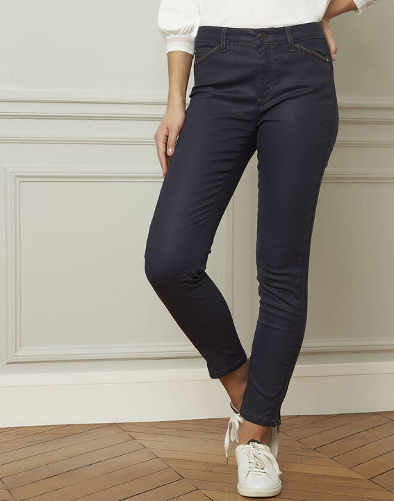 Opéra navy coated slim-fit 7/8 jeans with zip details (1) - 1-2-3