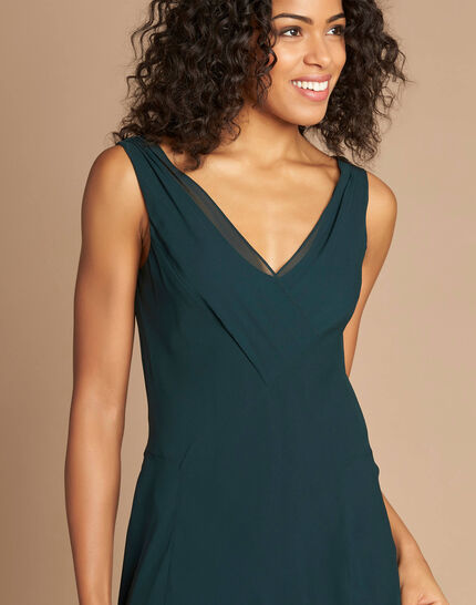 Foret forest green silk swirly midi dress <br /> (1) - 1-2-3