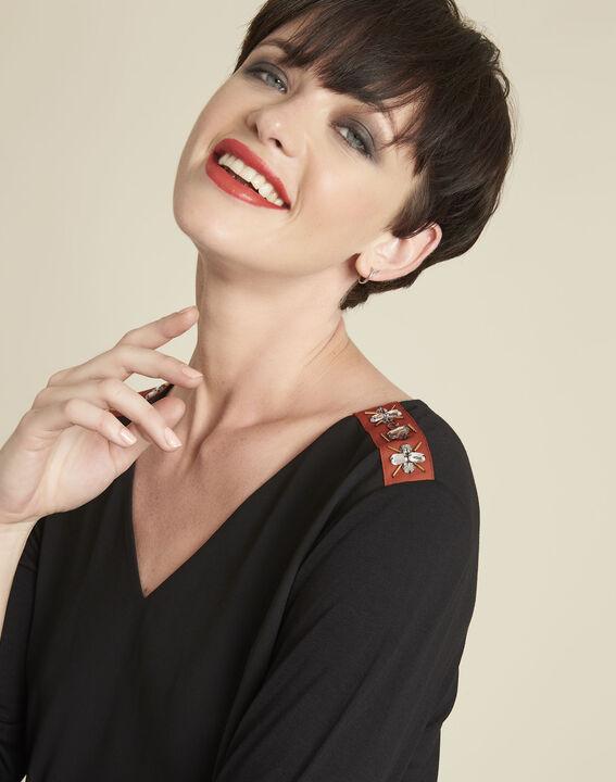 Blouse noire détails bijoux à épaules Coralie (2) - 1-2-3