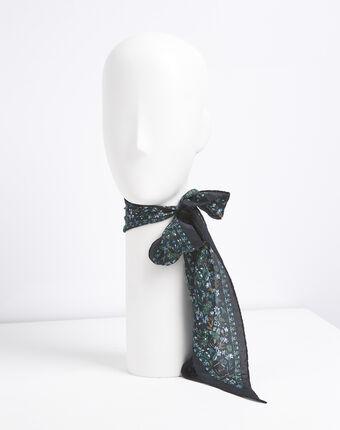 Fidèle floral print silk tie belt forest green.