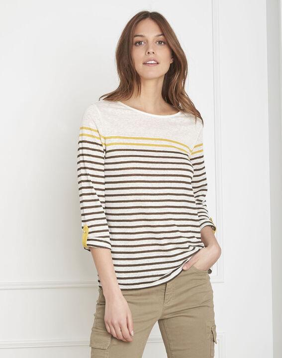 Tee-shirt écru rayé en lin Pise (1) - Maison 123