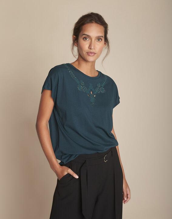 Tee-shirt vert foncé brodé Chypre PhotoZ | 1-2-3