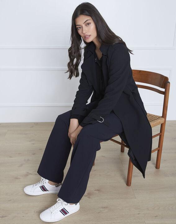 Manteau long col tailleur noir Klara (2) - Maison 123