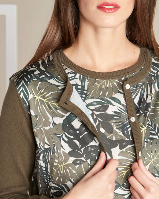 Nature dual-fabric khaki cardigan with leaf print (2) - 1-2-3