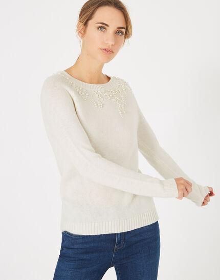 Naturweißer Pullover aus Woll-Mix mit Perlen Perle (3) - 1-2-3