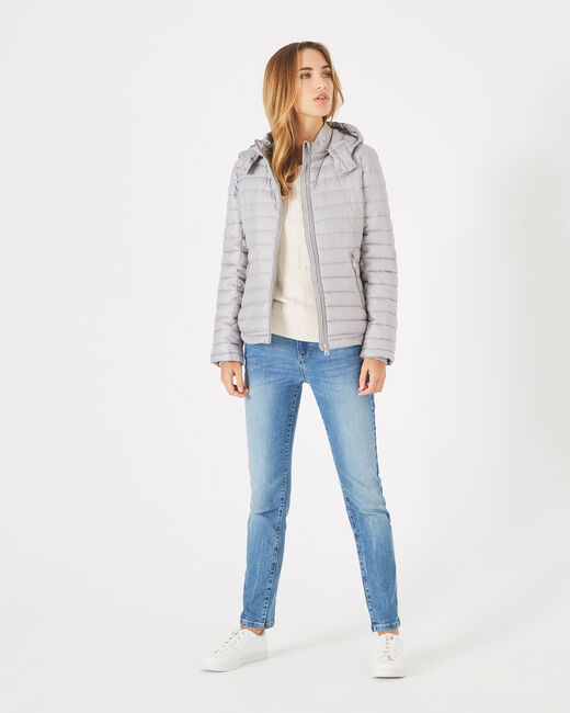 Louise short quilted jacket in silver with a rounded collar (2) - 1-2-3