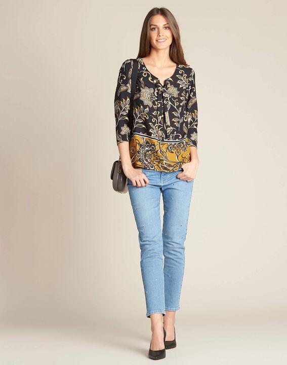 Schwarze Bluse mit Blumenprint Domino (2) - 1-2-3
