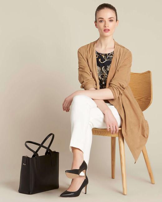 Tee-shirt noir imprimé foulard Encens (1) - 1-2-3
