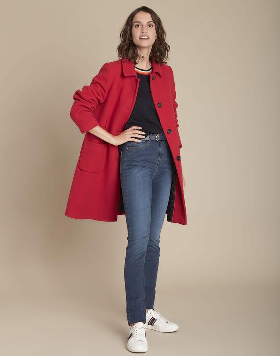 design intemporel fef2b 35a31 Manteau rouge en laine Terry