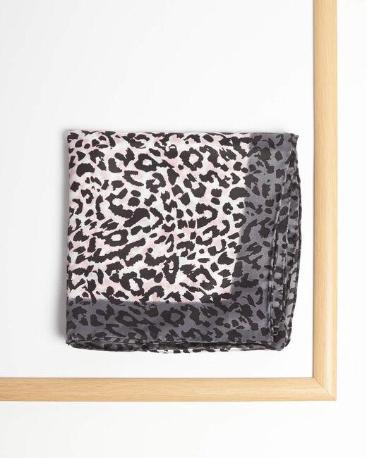 Carré de soie imprimé léopard rose pale Adoucha (1) - 1-2-3