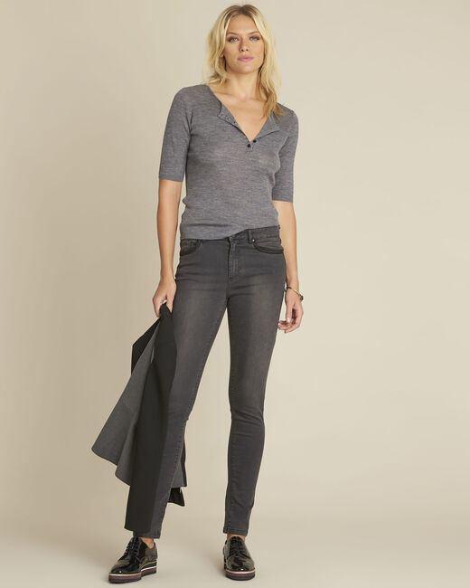 Vendome grey slim-cut jeans with braiding on the pockets (1) - 1-2-3