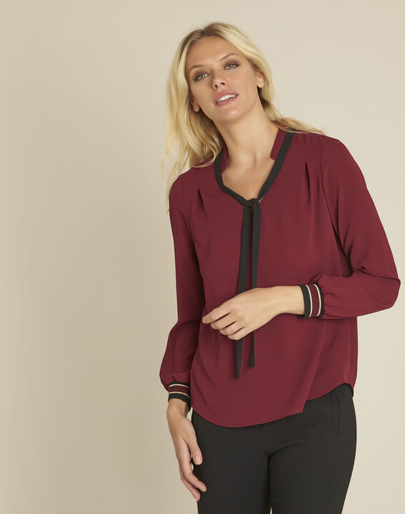 Cordelia red blouse with a decorative neckline PhotoZ | 1-2-3