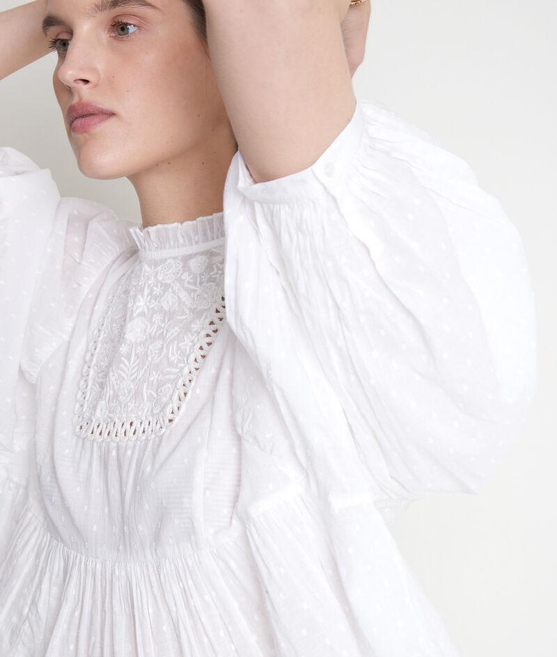Blouse romantique en coton brodé écru Thelya PhotoZ | 1-2-3