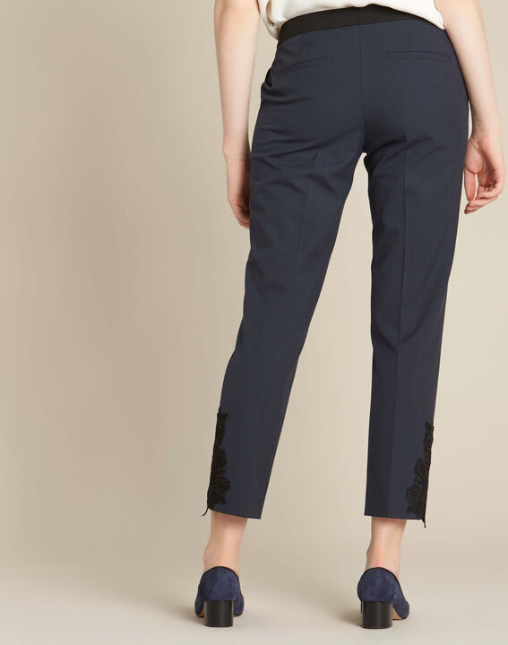 Valero tailored trousers in navy with crease and lace detailing (4) - 1-2-3