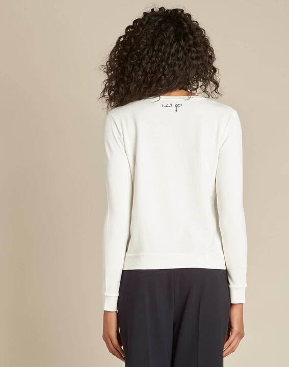 Ecrufarbenes Sweatshirt mit Perlen Beco (4) - 1-2-3
