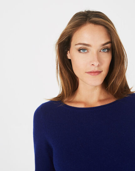 Petunia ink blue cashmere sweater with round neck (3) - 1-2-3