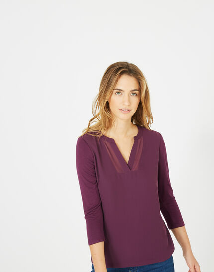 Cassisfarbenes 3/4-Arm-T-Shirt Bianca (1) - 1-2-3