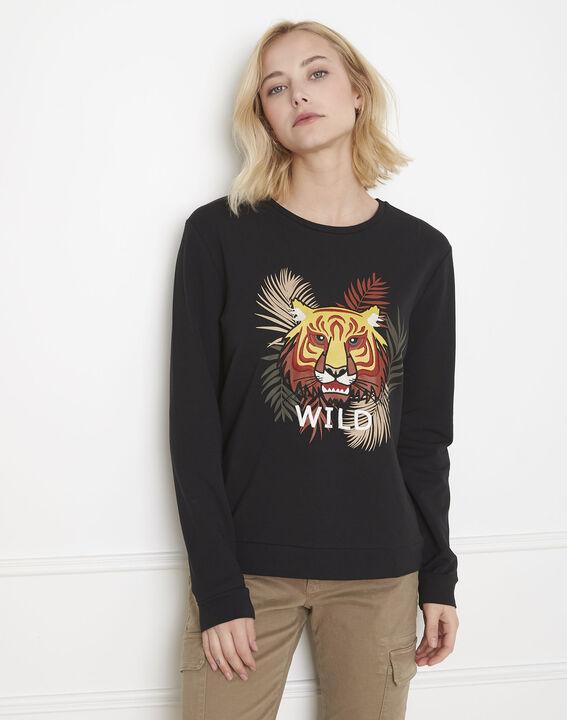 Schwarzes Sweatshirt mit Tiger-Print Planete PhotoZ | 1-2-3