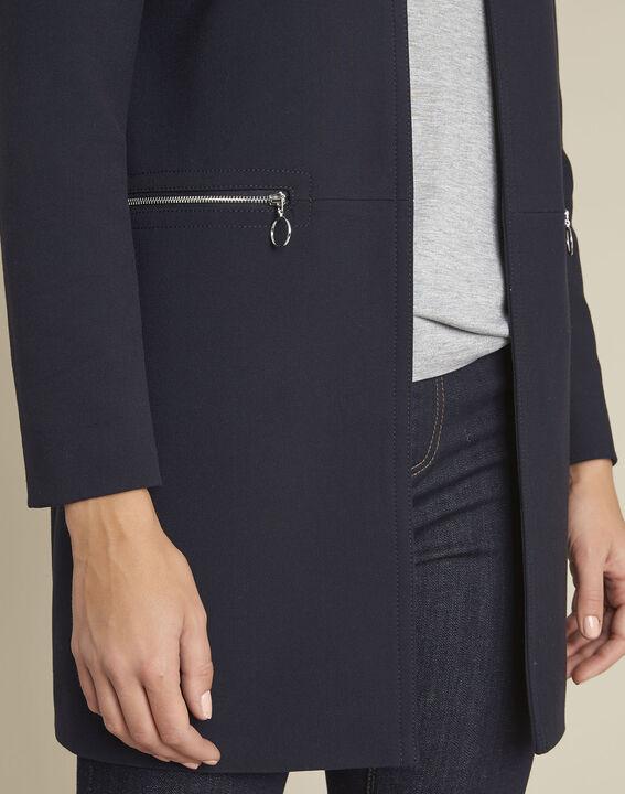 Gerader marineblauer Mantel mit Reißverschlüssen Kaya (3) - 1-2-3