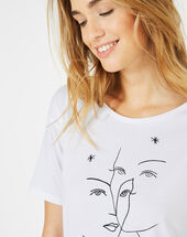 Binome white t-shirt with face print white.