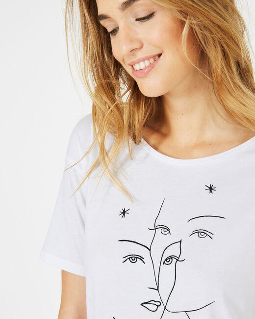 Tee-shirt blanc imprimé visages Binome (1) - 1-2-3