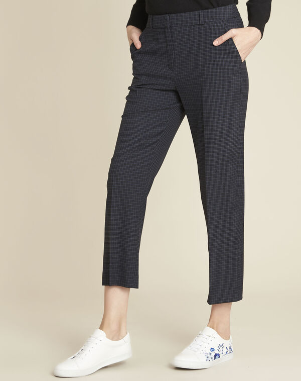 Haddock navy checked cigarette-cut trousers  (1) - 1-2-3