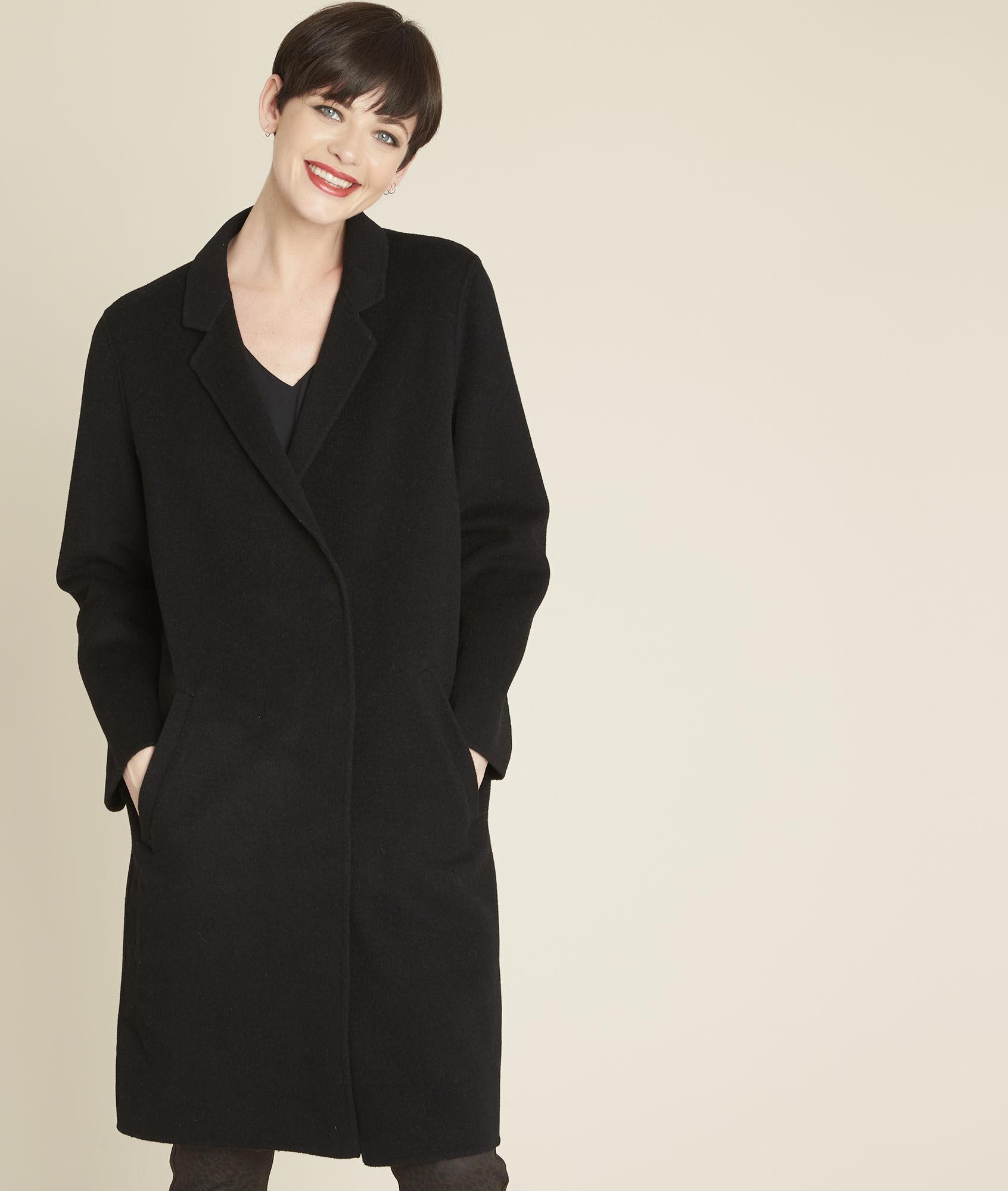 87f00e9b346 Manteau noir double face en laine Edgar - Maison Cent Vingt-Trois