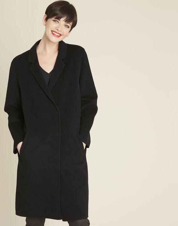 Langer schwarzer Mantel aus Wollgemisch Edgar PhotoZ | 1-2-3