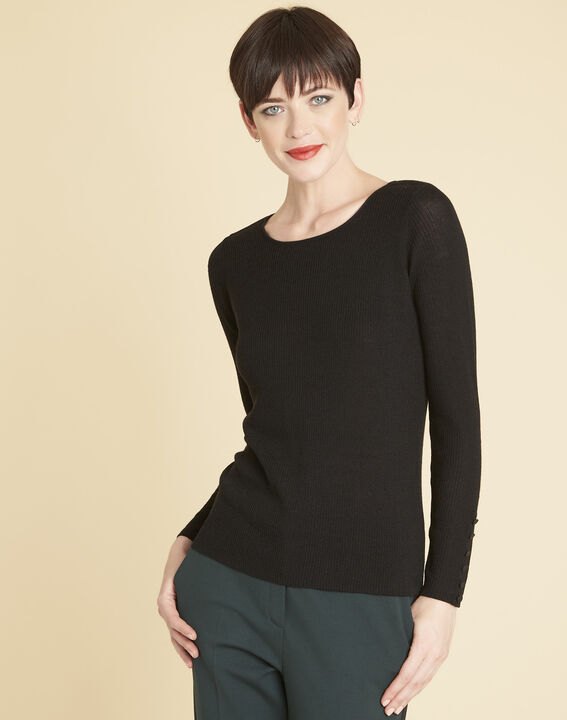 Bassus fine-knit black sweater with buttoned sleeves (1) - Maison 123