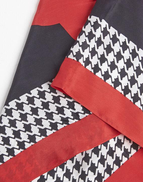 Rode hoofddoek van zijde met pied-de-poule-motief Fraise (2) - 37653