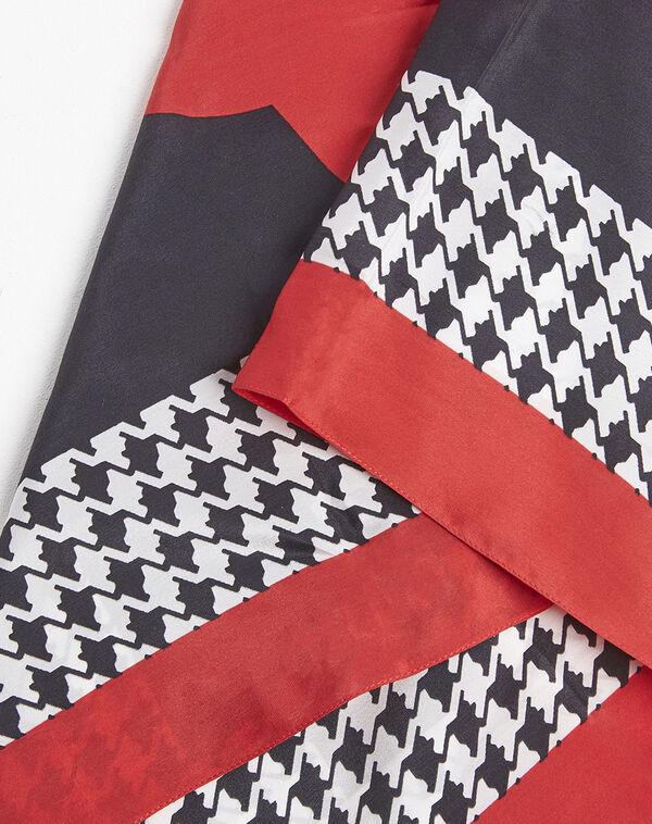 Rode hoofddoek van zijde met pied-de-poule-motief Fraise (1) - 37653