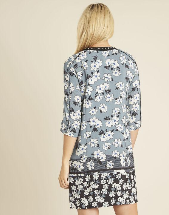 Blaues Print-Kleid mit Fantasieausschnitt Diam (4) - 1-2-3
