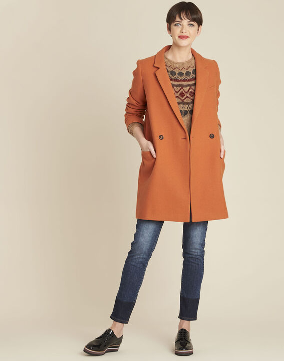 Eclat mahogany cross-over wool coat (2) - 1-2-3