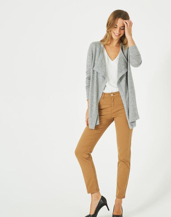 Pimprenelle marl grey, shiny cashmere waterfall cardigan (3) - 1-2-3