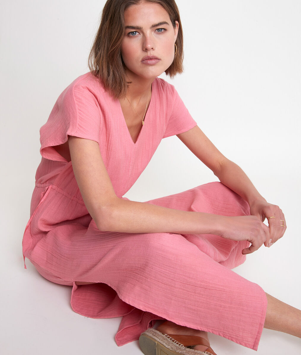 Robe longue en coton fraise Latimissi PhotoZ | 1-2-3