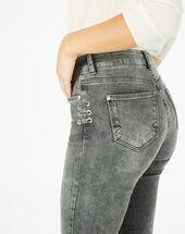 Graue 7/8-jeans mit schnüren nolan mittelgrau meliert.