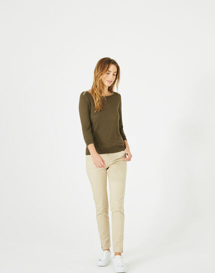 Pétillant khaki sweater with metallic threading (5) - 1-2-3