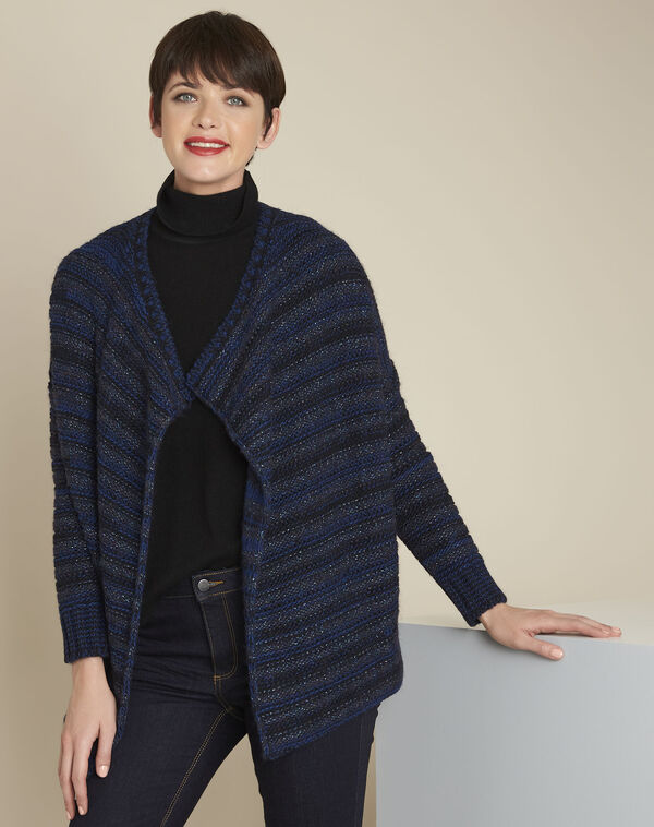Gilet bleu rayé laine mélangée Back (1) - 1-2-3