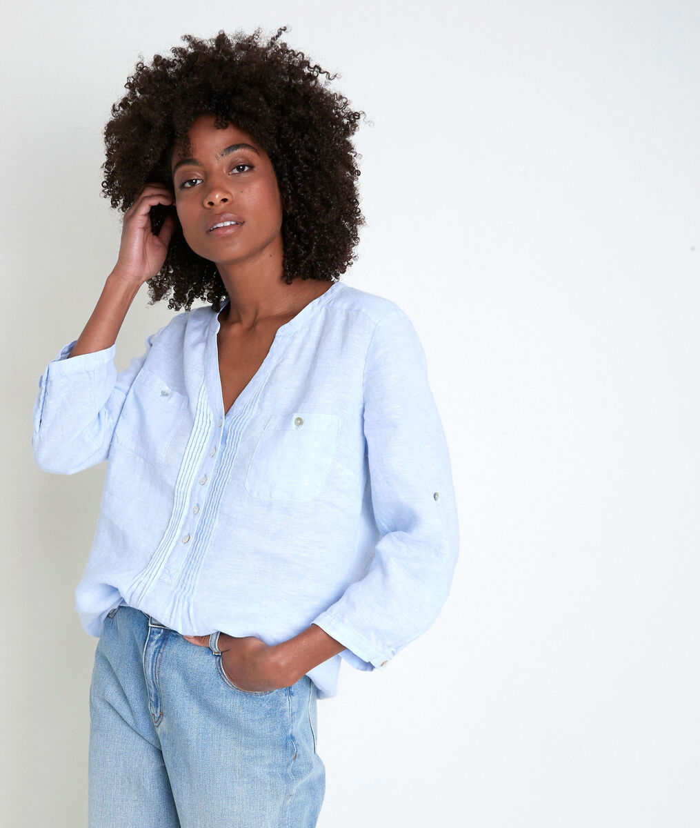 Azuurblauwe linnen blouse Roma PhotoZ | 1-2-3