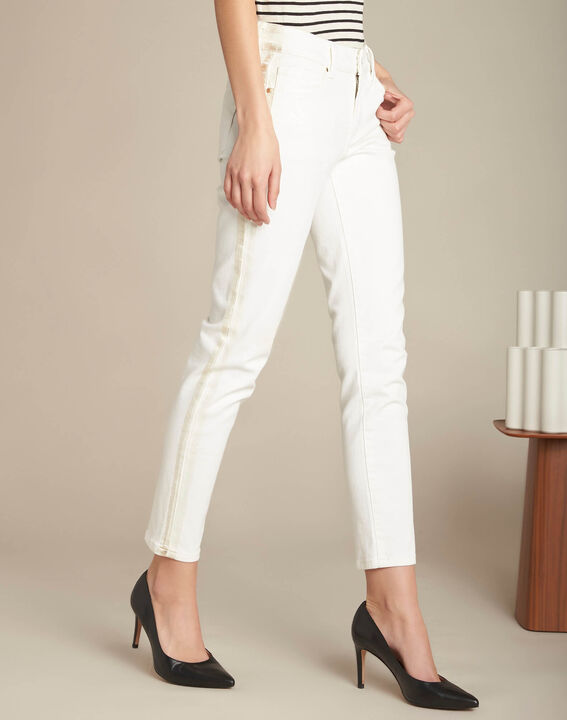 Turenne slim-cut white trousers with golden band (3) - 1-2-3